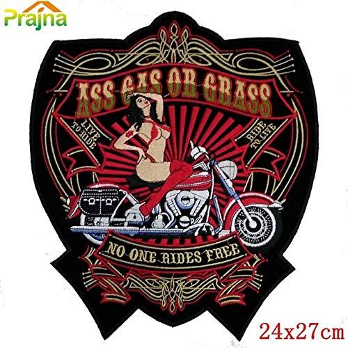 Desconocido Generic 16 diseños Punk Calavera Parche Roca Grande Bordado Banda Parches para Ropa Gran Moto Espalda Parche Motero dragón Lobo: diseño A