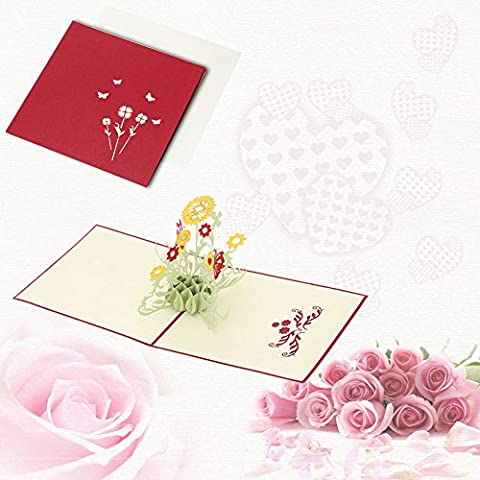 sypure (TM) 3d Handmade Pop Up Birthday Card Kirigami Folding Christmas Greeting postcard with Envelop for Valentine's Day Sunflower Design
