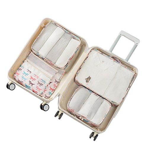 Belsmi Reise Kleidertaschen Set 6-teilig Reisetasche in Koffer Reisegepäck Organizer Kompression Taschen Kofferorganizer Mit Schuhbeutel (Fuchs) Fuchs