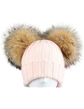 CAPPELLO CUFFIA ROSA DOPPIO PON PON IN PELLICCIA MURMASKY 1-3 ANNI BIMBA CAPPELLINO LANA Hat Pink Fur Raccoon...