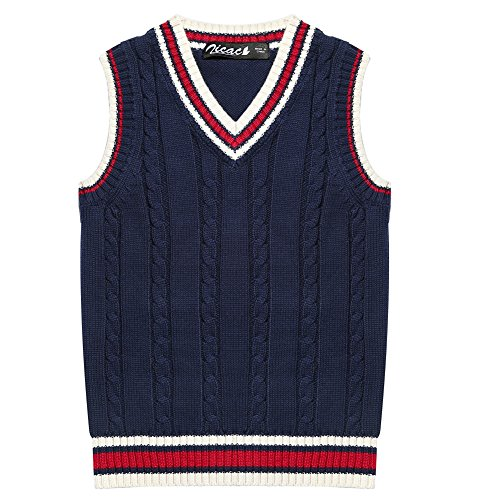 Zicac Kids V-Neck Sweater School Knit Vest Uniforms Cotton Waistcoat Cable-Knit Pullover for Boys and Girls 3-8 Y (Blue 1, 120)