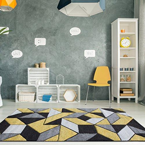The Rug House Alfombra para Sala de Estar con diseño Moderno y mosaicos geométricos en Ocre Amarillo...
