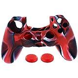 Huhua1PC Silikon Fall Abdeckung + 2PC Rocker Cap für Playstation PS4 Controller (Rot)