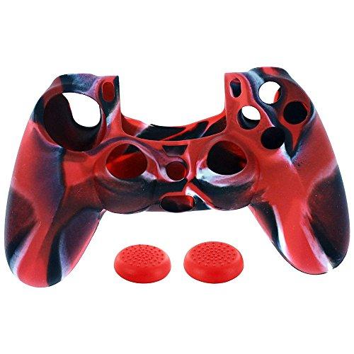 Fcostume 1 PC-Silikonhülle + 2 PC-Rocker Cap für Playstation PS4 Controller (Rot)