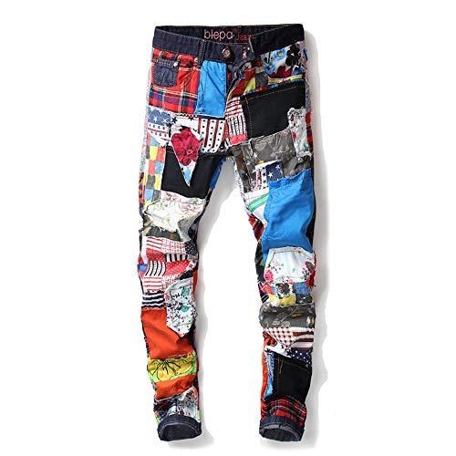 HENONG EU Männer Neue gerade schlanke Slim ohne Löcher, Bunte Tuch Nähte gewaschen Denim-Hosen (Color : Multi-Colored, Size : 33) - Paper Denim Tuch