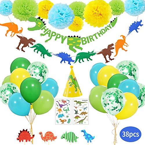 Yansion 38 piezas Dinosaurio Cumpleaños Set de decoración fiesta para niños, Globos Dinosaurios Happy Birthday Bandera Pom Poms Flores Tatuaje Etiqueta Engomada del Partido para Niños