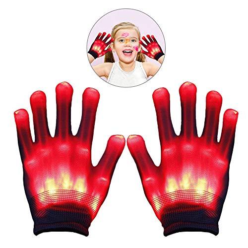 WISHBB LED Flashing Handschuhe, LED Blinkende Bunte Finger Gloves,LED Party Handschuhe Bunte Licht Handschuhe Leuchtende Handschuhe Party Tanzen Halloween Weihnacht Handschuhe Beleuchtung Handschuhe