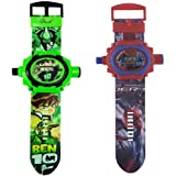 AQUARAS Ben10 And Spider-man 24 Images Projector Kid's Watch Combo - Set Of 2