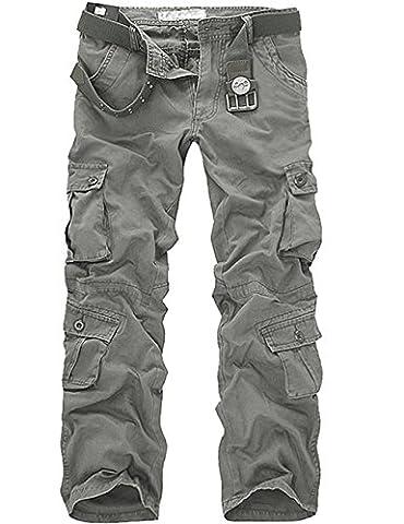 Menschwear Herren Cargo Hosen Freizeit Multi-Taschen Military pantaloni Ripstop Cargo da uomo (38,Grau)