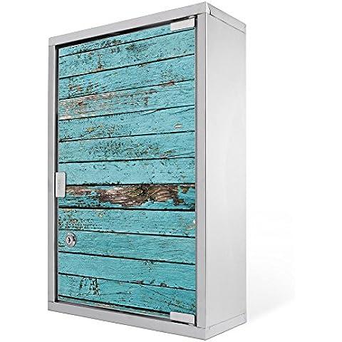 banjado–Botiquín doméstico 30x 45x 12cm Botiquín de primeros auxilios Acero Inoxidable Botiquín con diseño de madera listones