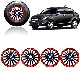Autorepute Premium Quality Car Full Wheel Cover Caps Red And Black 14 Inches Press Type Fitting For - - Maruti Suzuki Swift Dzire Type-3