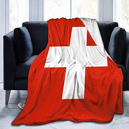 Amanda Walter Flagge der Schweiz Fleecedecke Kuschelig warme Fleecedecke Non Shedding Flanell Fleece Thick Couch Decke für Bettcouch Auto 60 * 80in