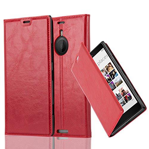 Cadorabo Hülle für Nokia Lumia 1520 - Hülle in Apfel ROT – Handyhülle mit Magnetverschluss, Standfunktion und Kartenfach - Case Cover Schutzhülle Etui Tasche Book Klapp Style
