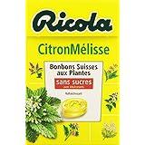 Ricola Suisse Bonbons Citron Mélisse sans sucres 50 g - Lot de 4