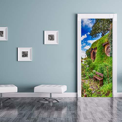 Tür Wandaufkleber Hobbit Lodge 3D Tapete für Schlafzimmer Wohnkultur Poster PVC Wasserdichte Nachahmung Abziehbilder 77x200 cm - Lodge-tür