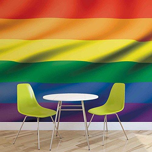 Flagge Regenbogen Schwul Lesbisch - Forwall - Fototapete - Tapete - Fotomural - Mural Wandbild - (491WM) - XL - 254cm x 184cm - Papier (KEIN VLIES) - 2 Pieces