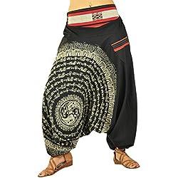 pantalones bombachos para hombre y mujeres entrepierna caída con Mandala dibujados a mano como ropa hippie y pantalones cagados de virblatt S- L – Nirvana negro