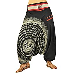 Pantalones de Aladino de entrepierna floja con una Mandala dibujada a mano como ropa alternativa por virblatt - Nirvana (Negro)