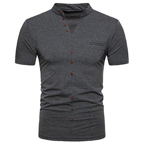 HHyyq Herren Sommer Casual Solid V-Ausschnitt Pullover Kurzarm T-Shirt Top Bluse Henley Neck Kurzar HHyyq (S, Deep Grey)