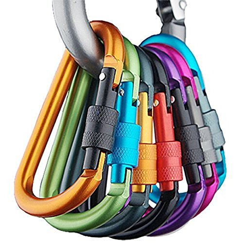 Banner Bonnie 6pcs Aluminum Carabiner Screw Lock D-ring Keychain Clip Hook- For Home, RV, Camping, Fishing, Hiking, Traveling and Keychain