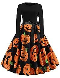 Femmes Robes Halloween Citrouille Noël Imprimé Vintage Manches Longues A - Ligne avec Ceinture Vêtements Deguisement Halloween Noël Femme Robe de Cocktail (S - 4XL, 16Styles)