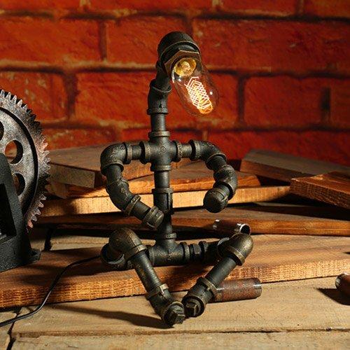 Vampsky Industrielle Vintage Schmiedeeisen Wasserpfeifen Tischlampe Retro Schlafzimmer Dimmbare handgemachte Steampunk Metall Nachttischlampe Schreibtischlampe E27 Edison Bar Cafe Dekoration Tischleuc -