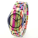Etbotu Colorful Wooden Quartz Watch,100% Natural Bamboo,Nontoxic Material,with Gift Box,Unisex