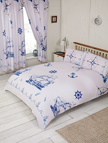 MyHome Bettwäsche-Set für Einzelbetten mit nautischem Motiv in dunkelblau und weiß