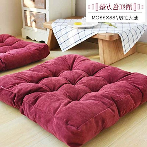 WDZA Le Coussin De Chaise Simple Office Étudiants Classe Pique-Nique Jardin Assise, 55X55Cm, Rouge Foncé