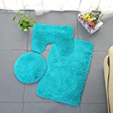 Gaddrt 3pc Badezimmer Set Teppich Contour Mat WC Deckel Abdeckung Plain Solid Color Badematten (D)