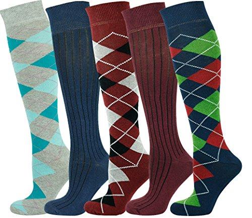 Mysocks® Kniehohe Argyle Socken Mehrfachverpackung 703