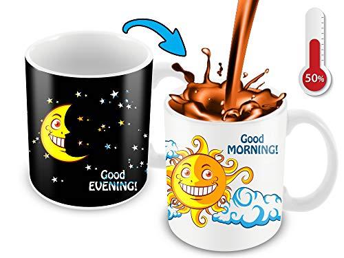 Kaffeebecher, wärmeempfindlich, Farbwechsel, lustige Kaffeetasse, Nacht/Tag, Mond/Sonne, lustige Geschenkidee (Witze Lustige Halloween-zitate)