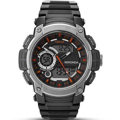 Sekonda Montre numérique pour Homme avec Cadran Noir Affichage numérique et Noir Bracelet Plastique 1160.05