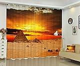 Waple Das Foto der Ägyptischen Pyramiden 3D Fenster Vorhang Angepasste Größe 240X400CM