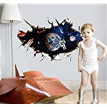 Zooarts 3D Outer Space Astronaut Wall Stickers Removable Wall Decals Art Decor Vinyl Kids Child Room Mural
