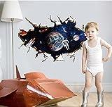 zooarts 3D Weltall Astronaut Wandsticker Abnehmbarer Wandtattoo Art Decor Vinyl Kinder Kind Zimmer Wandbild