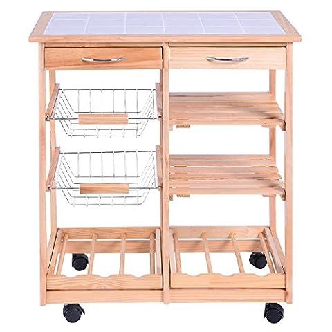 Chariot A Etagere - Chariot de cuisine en bois étagère Cabinet