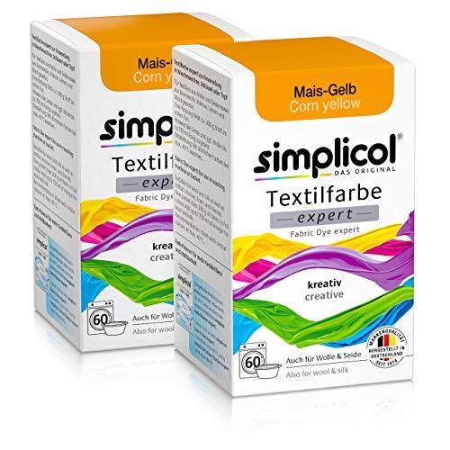 Simplicol Textilfarbe expert Mais-Gelb 1701, 2er Pack: Farbe für kreatives, einfaches Färben in der Waschmaschine oder manuell (Gelb Stoff Farbstoff)