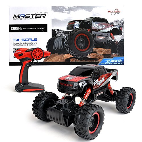 RC Crawler kaufen Crawler Bild 1: Maximum RC Ferngesteuertes Auto für Kinder - 4WD Monstertruck - XL RC Auto für Kinder ab 8 Jahren - Rock Crawler (rot)*