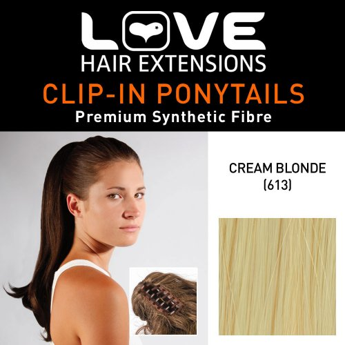 Love Hair Extensions Kunsthaar-Pferdeschwanz India mit Krokodilklemme, 40,6 cm, 613 Cream Blonde