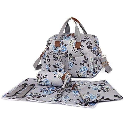el Blume Muster Baby Windel Windel Wickeltasche Set große Schulter Handtasche Wachstuch Tote (Baby-boutiquen Online)