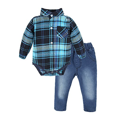 Big elephant camicia per jeans a 2 pezzi baby boy set con papillon g24