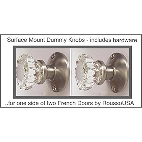 Two Crystal Antique Replica Surface Mount Single Dummy/French Door Knob Sets for one side of two doors or Both Sides of one door. Also for decor projects (Brushed Nickel) (Ver 1.BN9: Surface Mount) by RoussoUSA