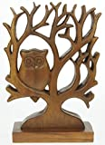 Handcarved Owl In Tree Ornament - Decorative Wooden Carving - wonderful Christmas Gift - Beautifully Crafted Sculpture (Size 33 x 25 x 9cm) Top Christmas Gift Idea : High Quality Traditional Wooden Present For Children, Adults or Animal Lovers!