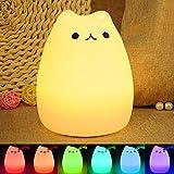 LED Colorida Lámpara, ikalula de noche de la lámpara 7-Color de silicona recargable control sensible del tacto, USB recargable Iluminación nocturna para habitación de bebé