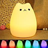 Veilleuse Enfant Chat LED, ikalula Lampe de Chevet e Nuit Portable en Silicone Multicolore LED Veilleuse [Cadeau][Jouets pour Enfants][Tente Camping Lumière] de Nuit USB Rechargeable Veilleuse