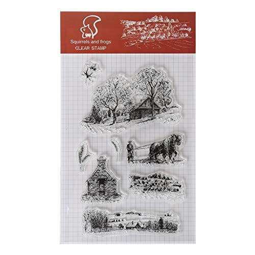 ECMQS Bauernhof Haus DIY Transparente Briefmarke, Silikon Stempel Set, Clear Stamps, Schneiden Schablonen, Bastelei Scrapbooking-Werkzeug