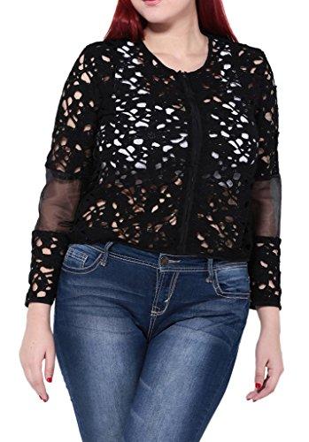 Bigood Veste Eté Femme Grande Taille Tulle Sexy Tops à Manches Longues Col Rond Creux Mode Noir