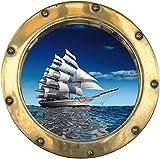 Wandtattoo Bullauge Schiff Segelboot H303, 30x30cm