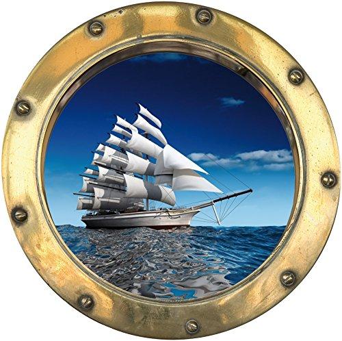 StickersNews Wandtattoo Bullauge Schiff Segelboot H303, 30x30cm